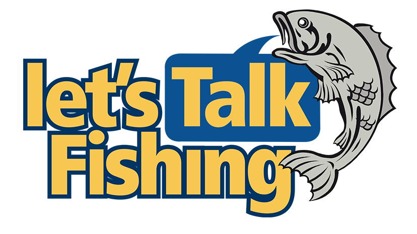 lets talk fishing logo with yellow text and fish